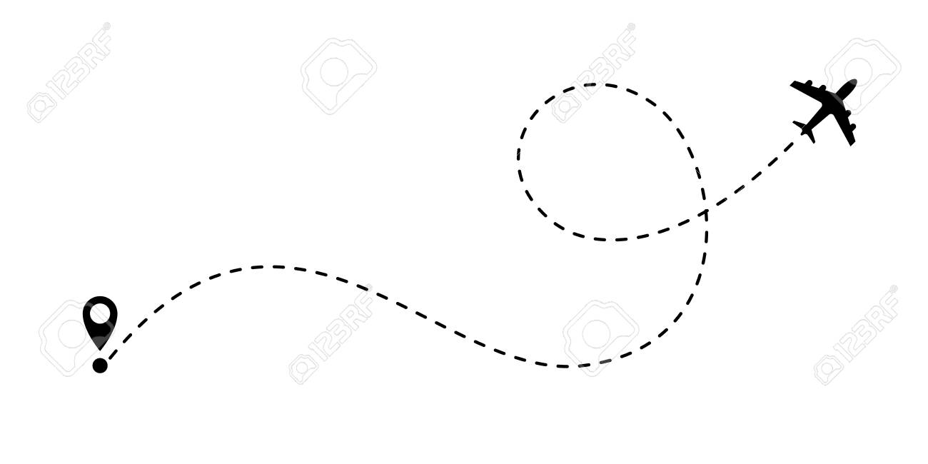 Airplane line path vector icon of air plane flight route with start point and dash line trace. - 100248468