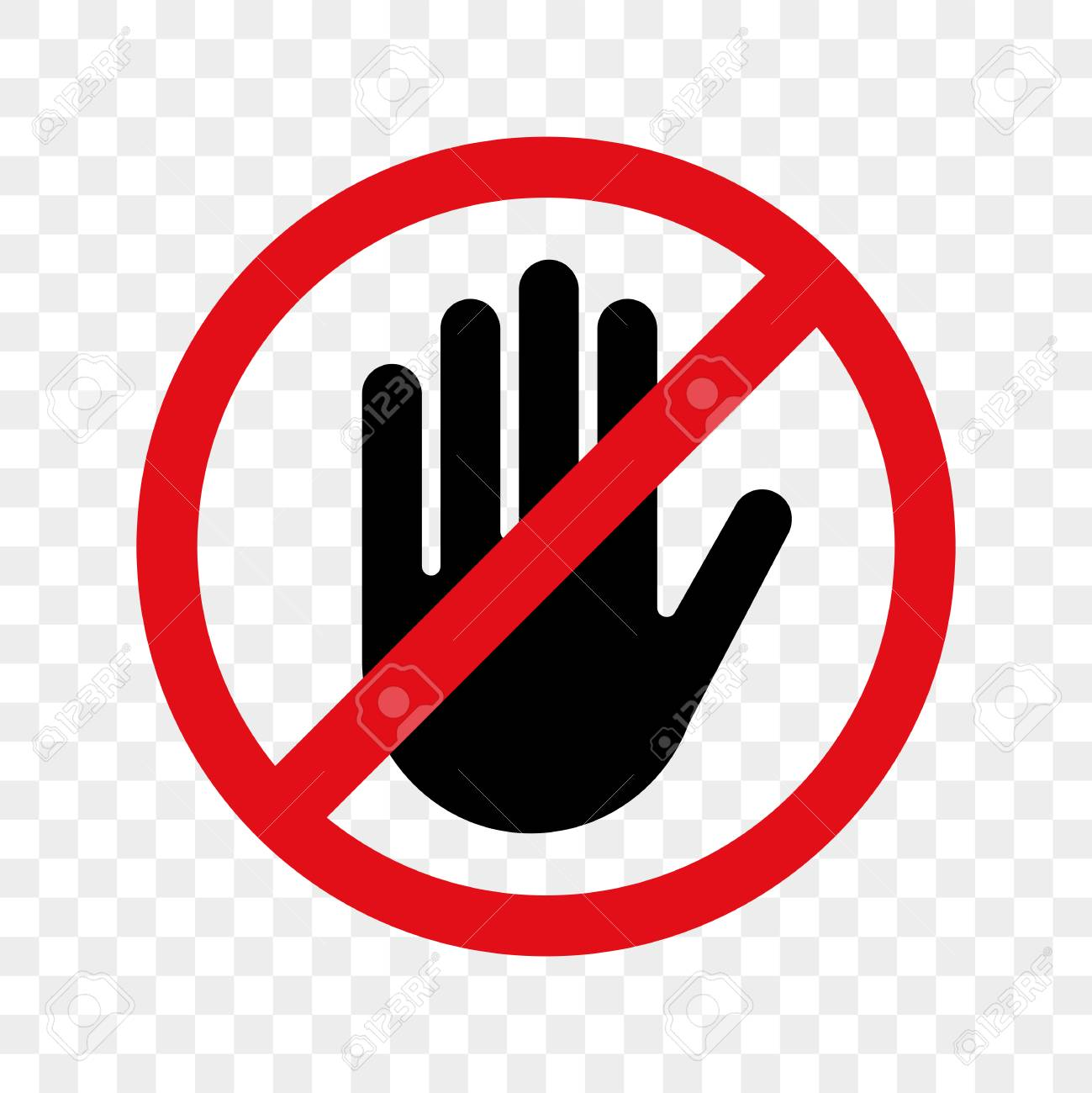 Stop hand vector warning icon for no entry or don't touch sign. - 100248473