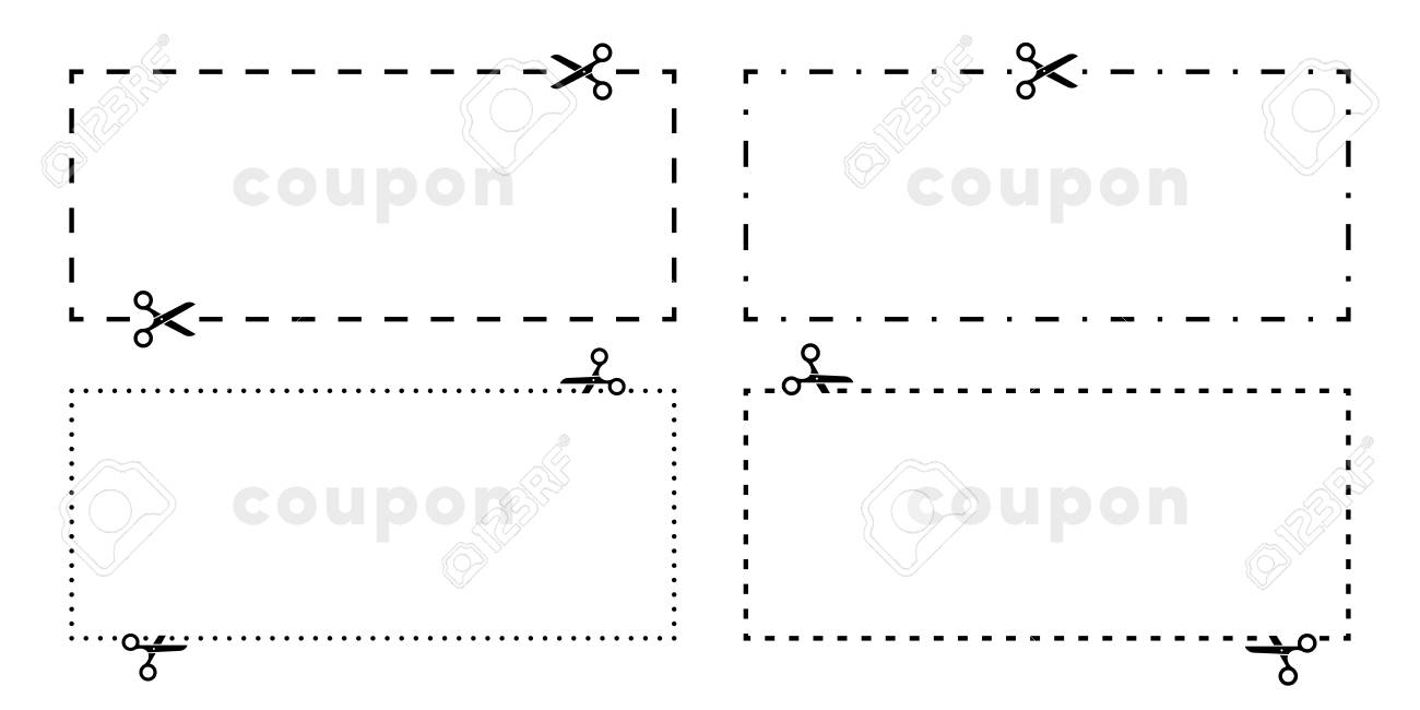 Coupon cut out scissors cutting line vector icons for border cutout with dotted dash or dashed line - 100182008