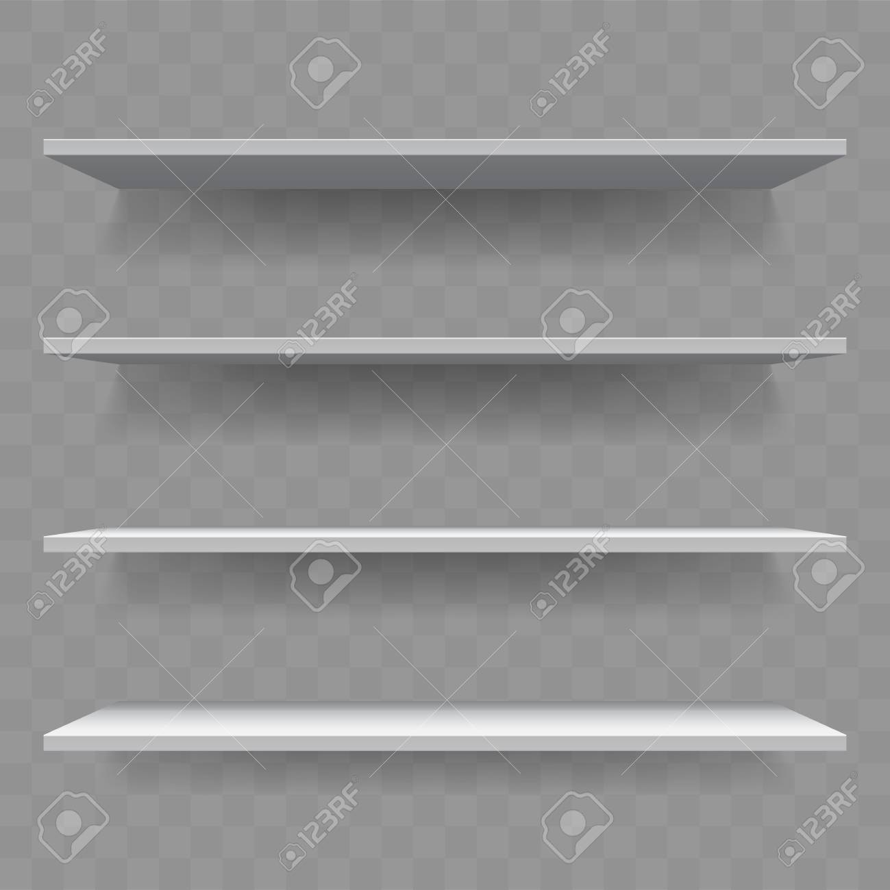 Shelf Or Bookshelf Of White Wood On Wall Transparent Background With Shadow Isolated 3D Realistic