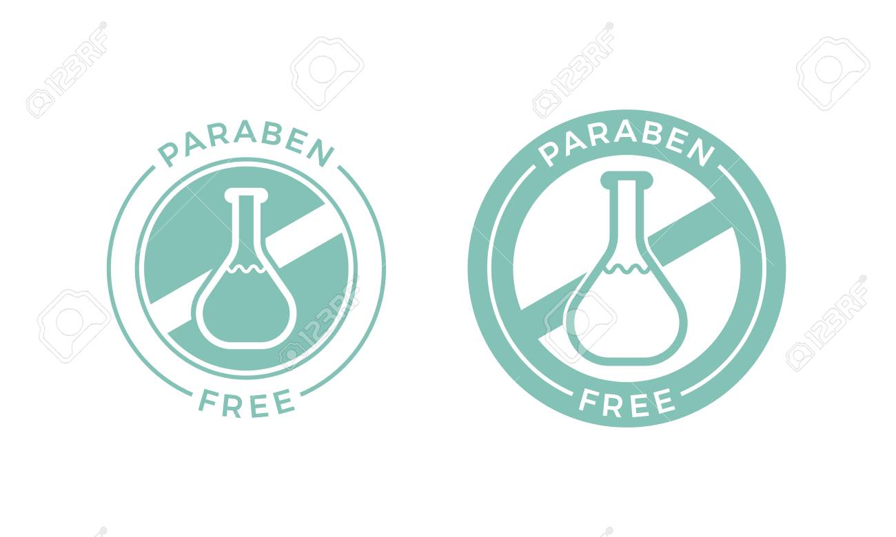 Paraben free label icon for health and skin safe products. Vector paraben chemical vial test logo for natural skincare cosmetic shampoo or cream package design - 108054557