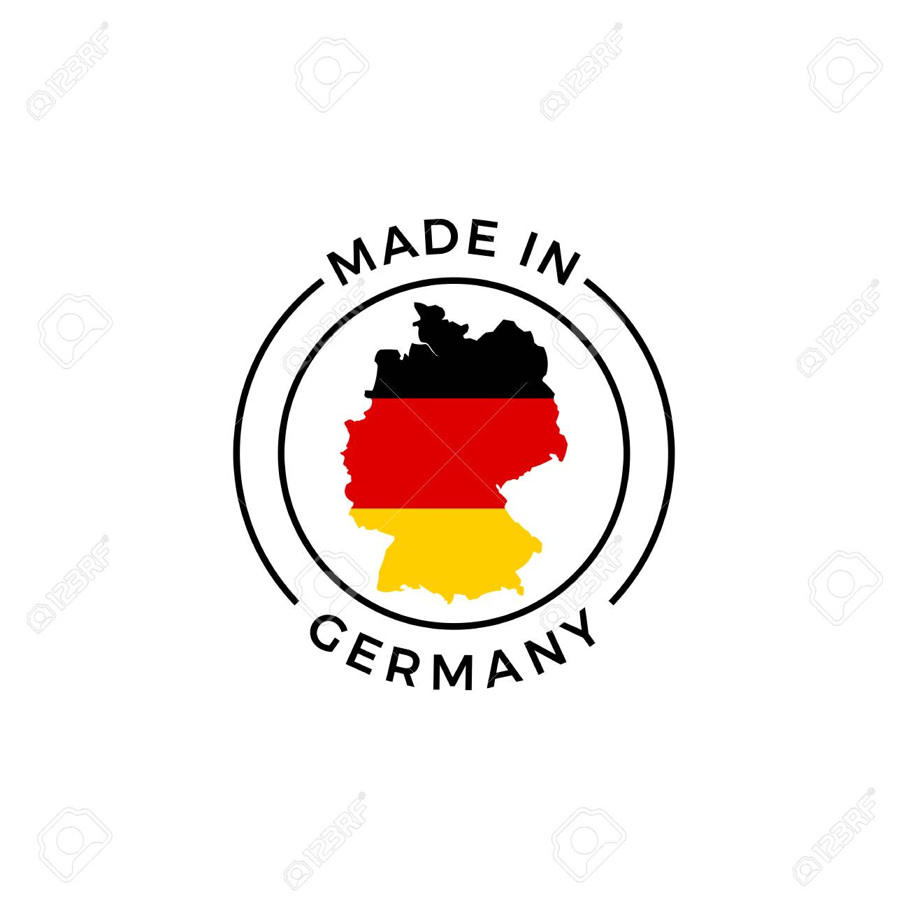 Made in Germany logo. Vector German flag in map quality label..