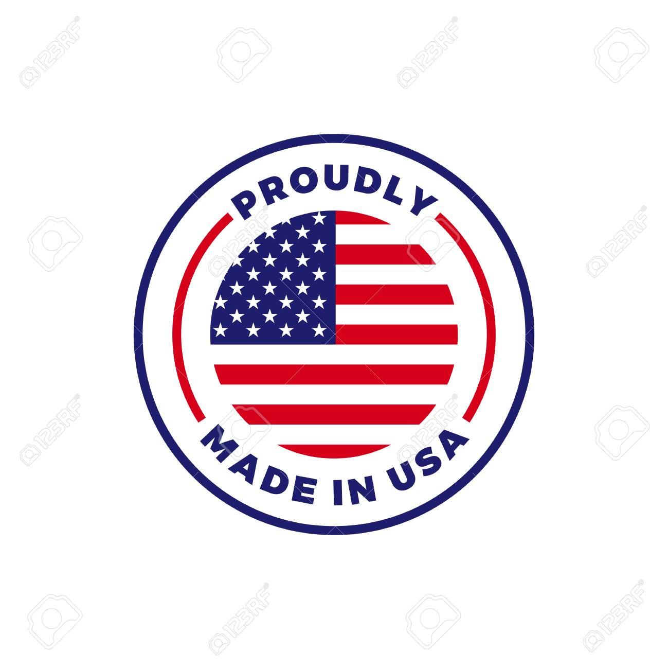 Made in USA label icon with American flag seal. Vector quality logo badge for US made certified premium package design - 108054673