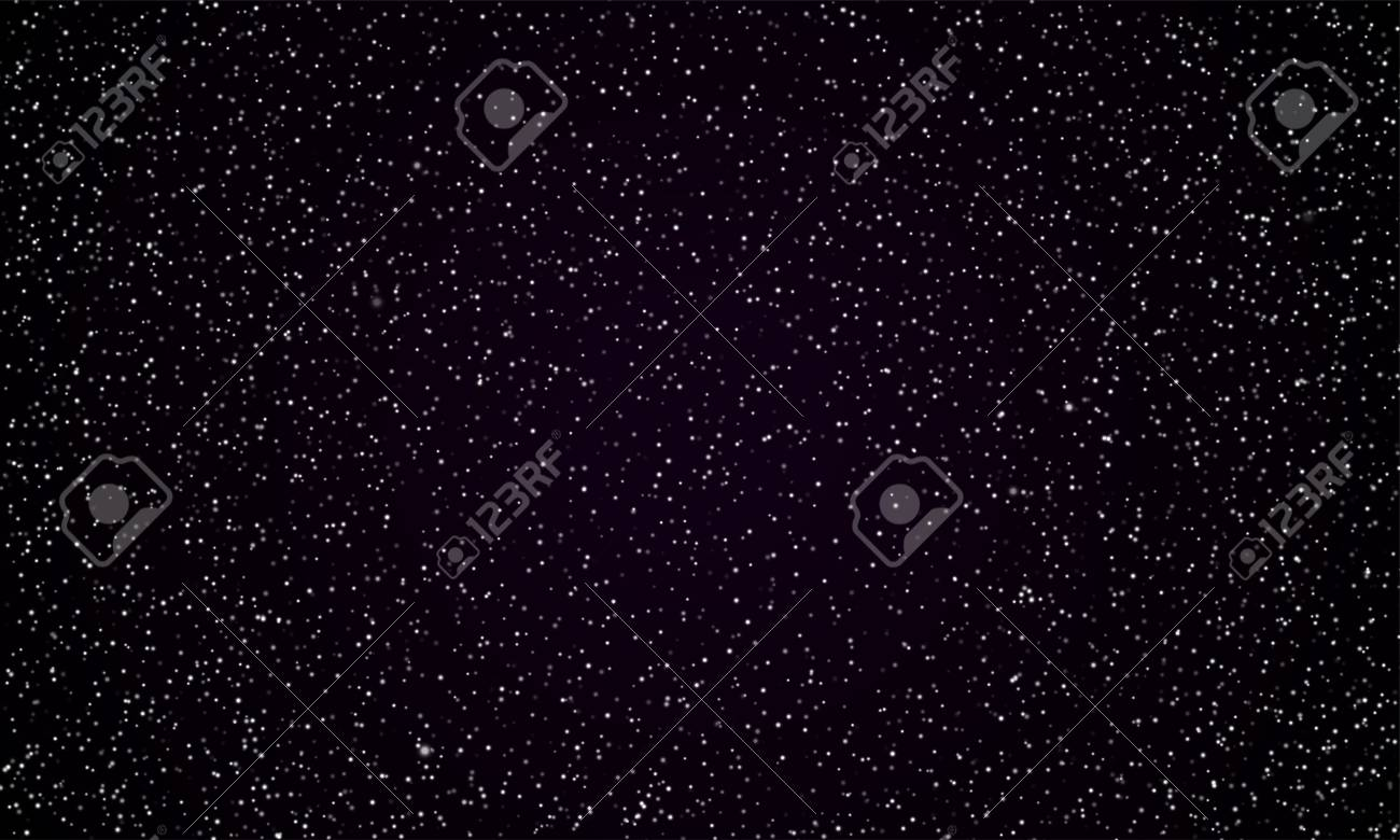 Starry sky space background of perfect dark night and twinkling stars. Vector real stars and planets shine in perfect black galaxy - 108090601