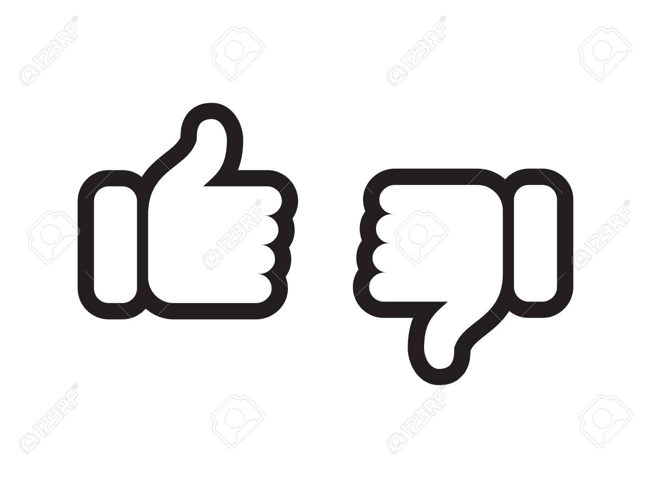 Thumb up and down vector web icons. Vector thin line symbols for positive or negative feedback, like and unlike or dislike review signs - 108090612