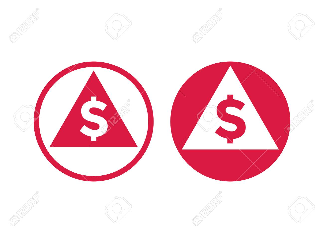 Cost Price Low Decrease Or Grow Increase Icon Vector Red Symbol Of