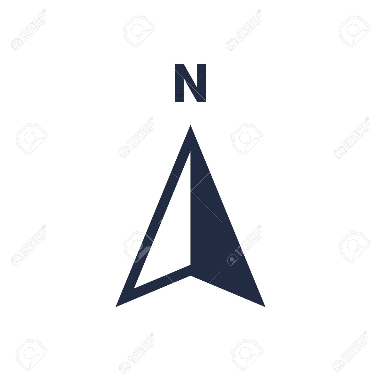 North arrow icon or N direction and navigation point symbol. Vector logo for GPS navigator map isolated on white background - 108090643
