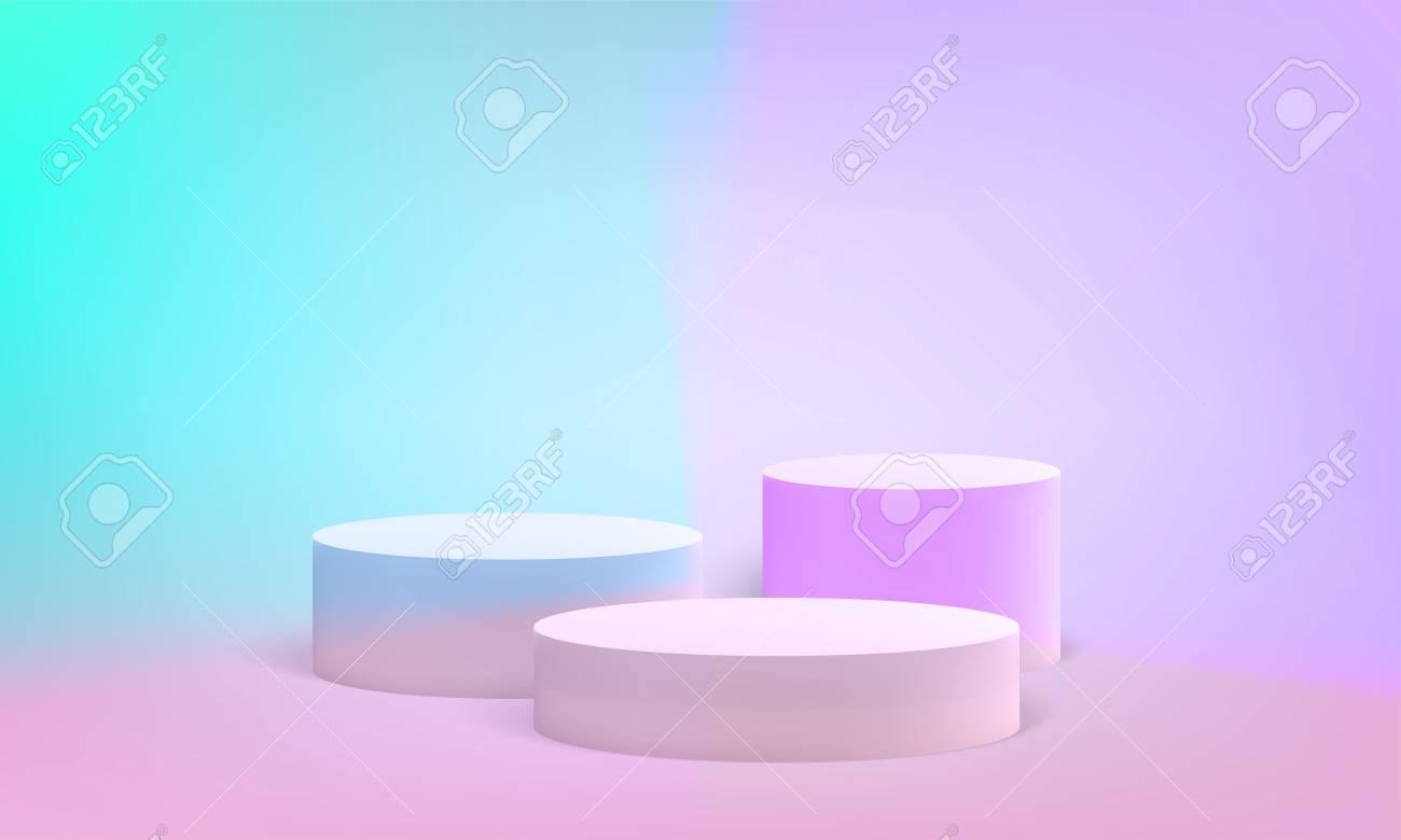 Podium scene or pillar stand for minimal pastel background. Vector round podium stand for studio 3D render - 109808430