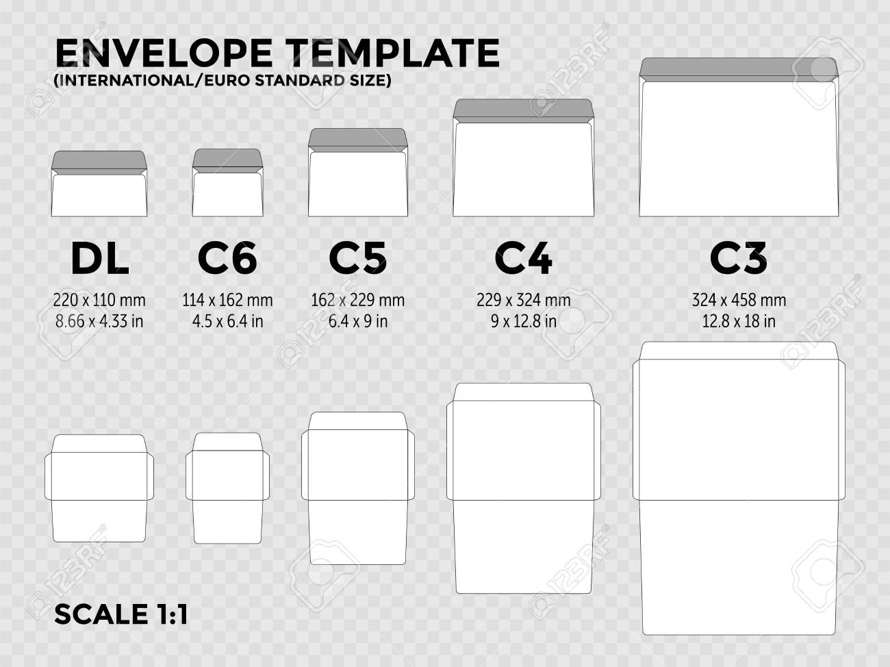 Envelope template with international, euro standard sizes c6, c5, c4, c3 for folded a4, a5 paper with cut lines. Vector illustration - 109808443