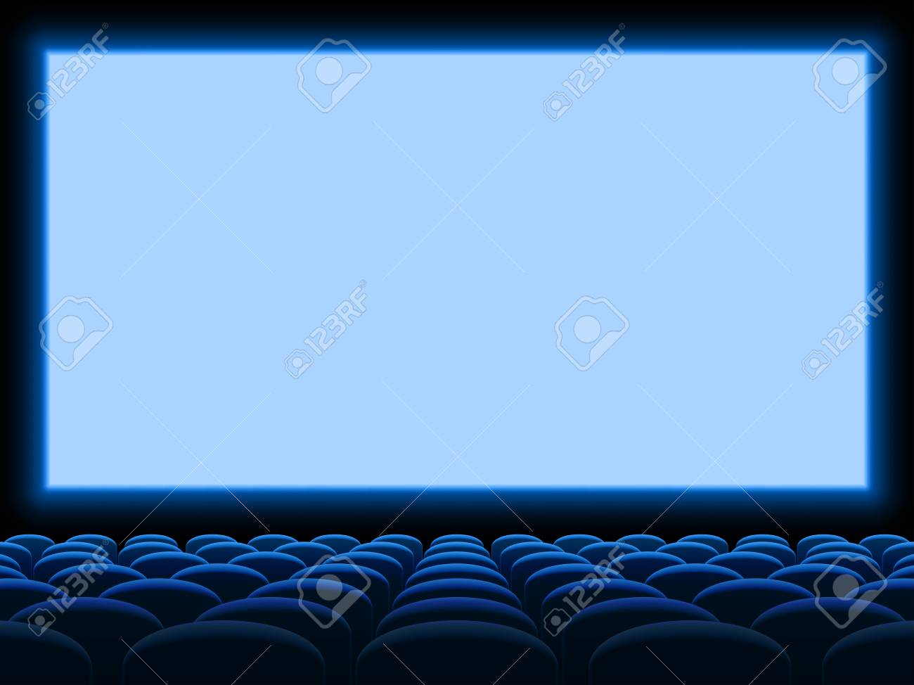 Movie Cinema Screen Vector Background Template With Empty Blue Royalty Free Cliparts Vectors And Stock Illustration Image 113501897