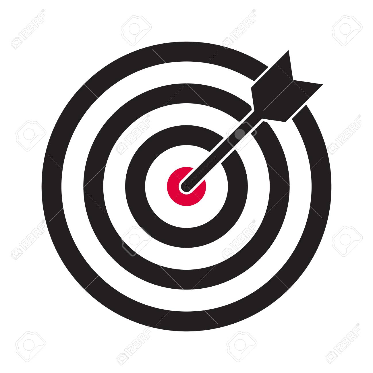 Target and arrow vector icon. Darts dartboard and business aim target symbol - 121672548