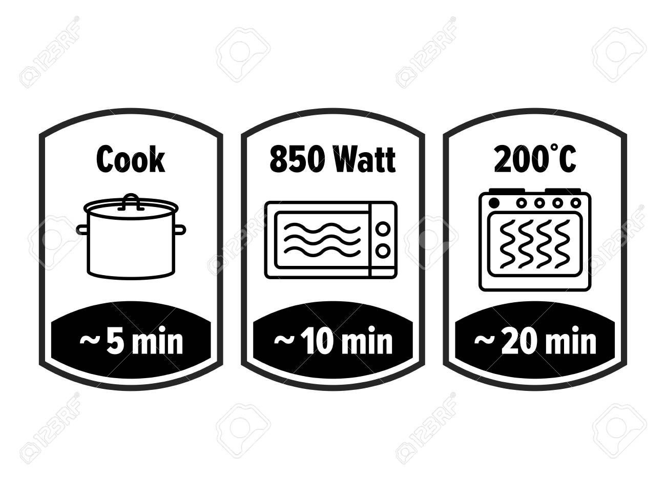 Cook minutes vector icon. 5, 10 and 20 minutes cooking in boiling saucepan, microwave watt and oven cooker temperature, food cook package instruction symbols - 124593128