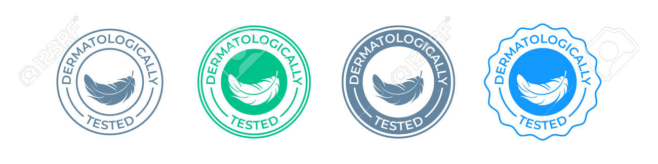 Dermatologically tested icon or label logo with feather, vector tags set for skin moisturizer and cosmetics. Clinically approved hypoallergenic and dermatology test certified stamp - 161774409