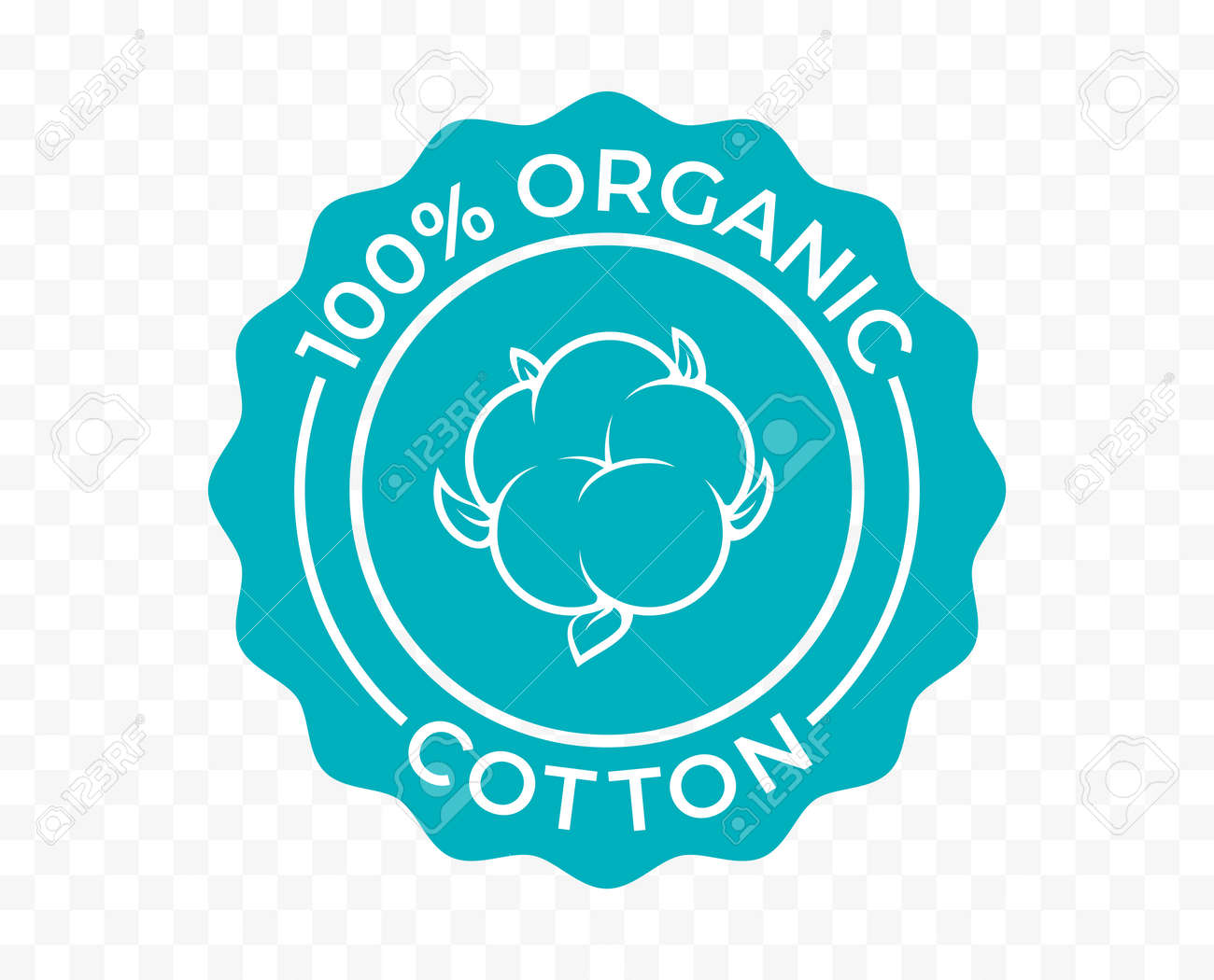 Cotton, 100 organic eco icon and bio natural vector logo. Natural cotton tag for green bio and eco green stamp - 161774413