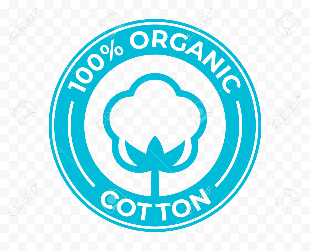 Organic cotton flower icon, 100 natural certificate vector logo. Cotton flower for eco bio organic textile and cosmetic products package stamp - 161774420
