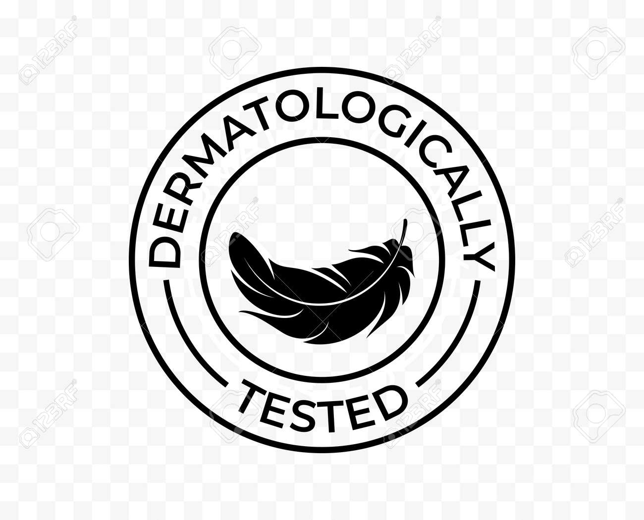Dermatologically tested icon, hypoallergenic skincare products vector logo. Feather tag for dermatological tested moisturizer and skin cosmetics - 161774421