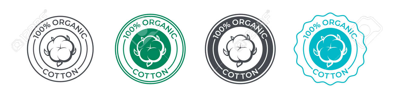 Cotton, organic 100 icon, flower vector logo for eco and natural bio soft fabric. 100 percent cotton badge for textile clothes, green vegan cosmetics and sanitary hygienic pads or tampons - 161774423