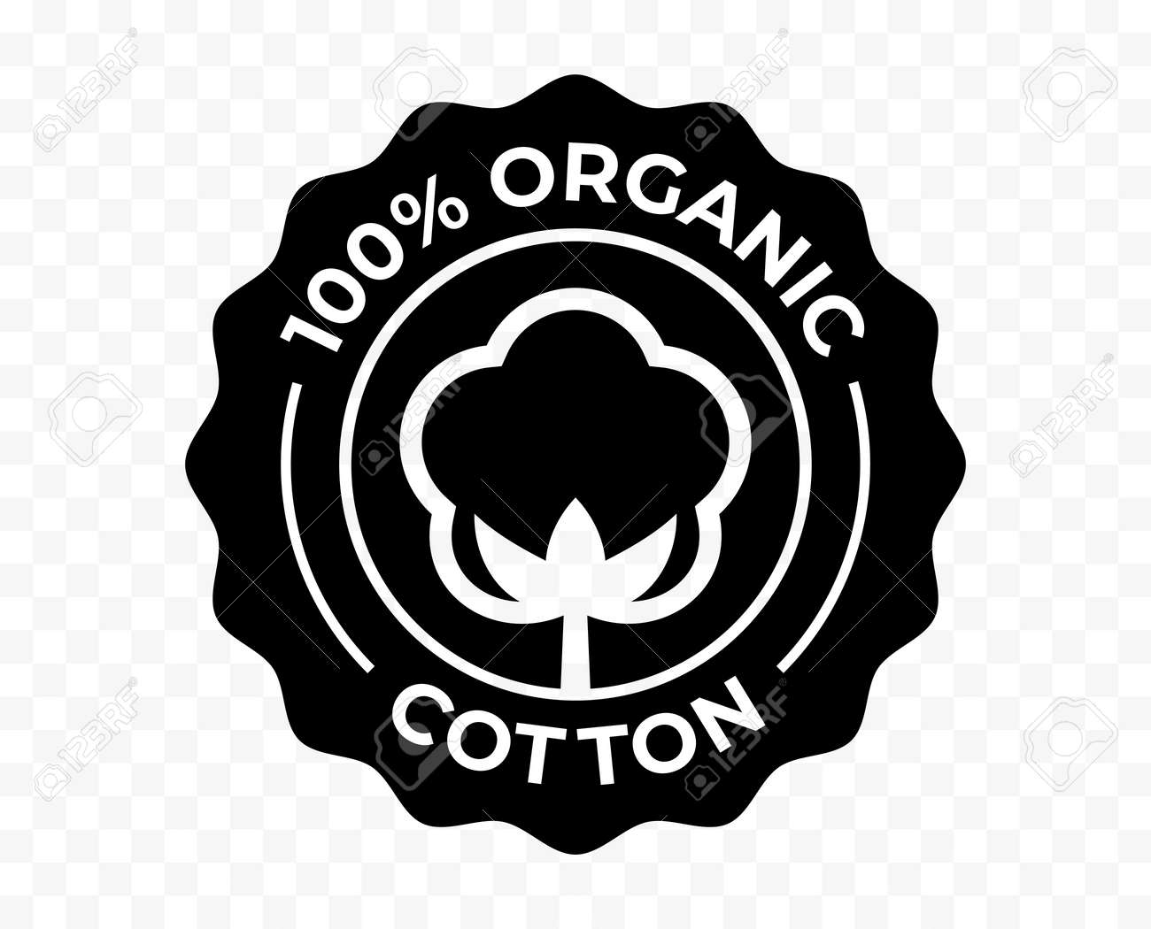 Cotton flower organic icon, eco natural and bio certificate stamp, vector. 100 percent organic cotton certified products quality logo - 161774426
