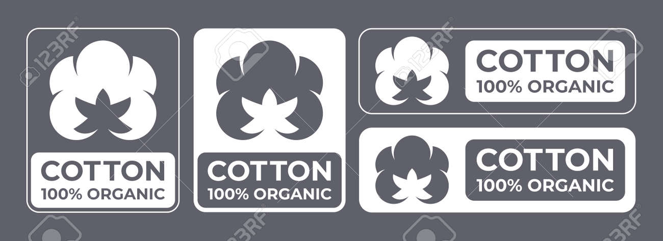 Cotton 100% organic natural fabric logo, vector cotton flower labels for clothes tag and quality certificates - 163744129