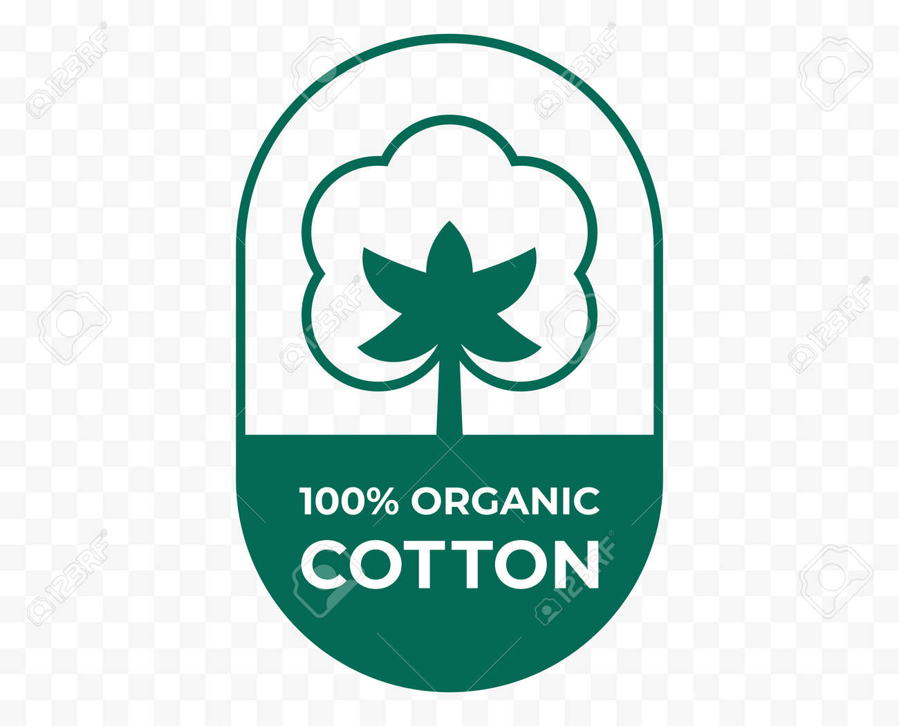 Cotton icon, fabric logo organic natural 100% cotton, vector quality certificate and clothes label - 163744135