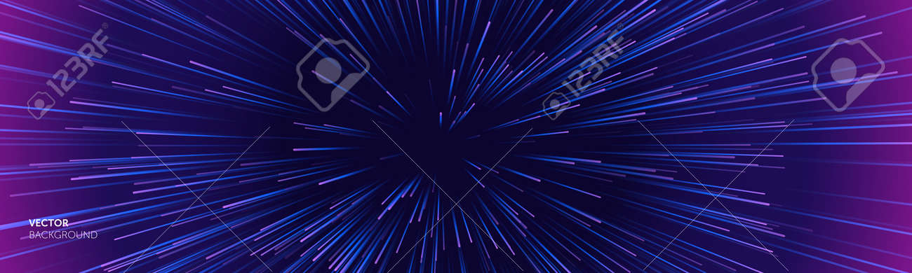Space speed background, light warp and galaxy abstract stars explosion, vector. Space speed neon purple blue hyperspace blast - 163744142
