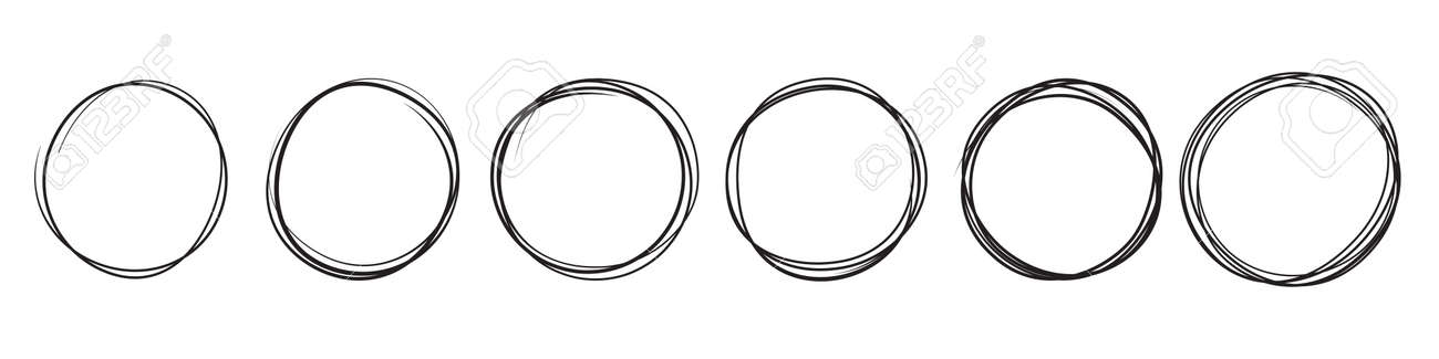 Circles doodle sketch, hand drawn vector lines and round scribble frames - 163822673