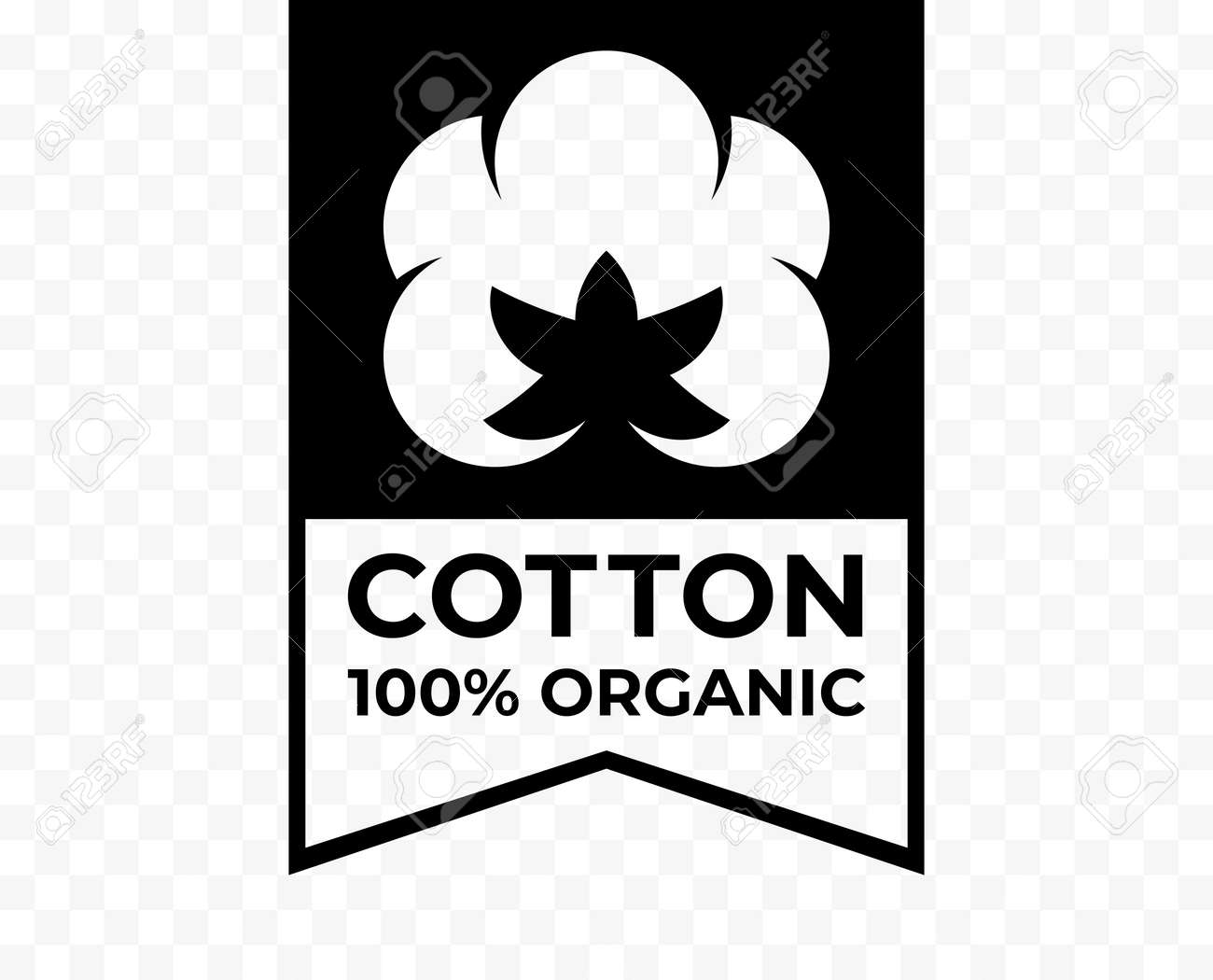 Cotton 100% organic tag, natural fabric logo icon, vector cotton flower quality certificate label - 163822681