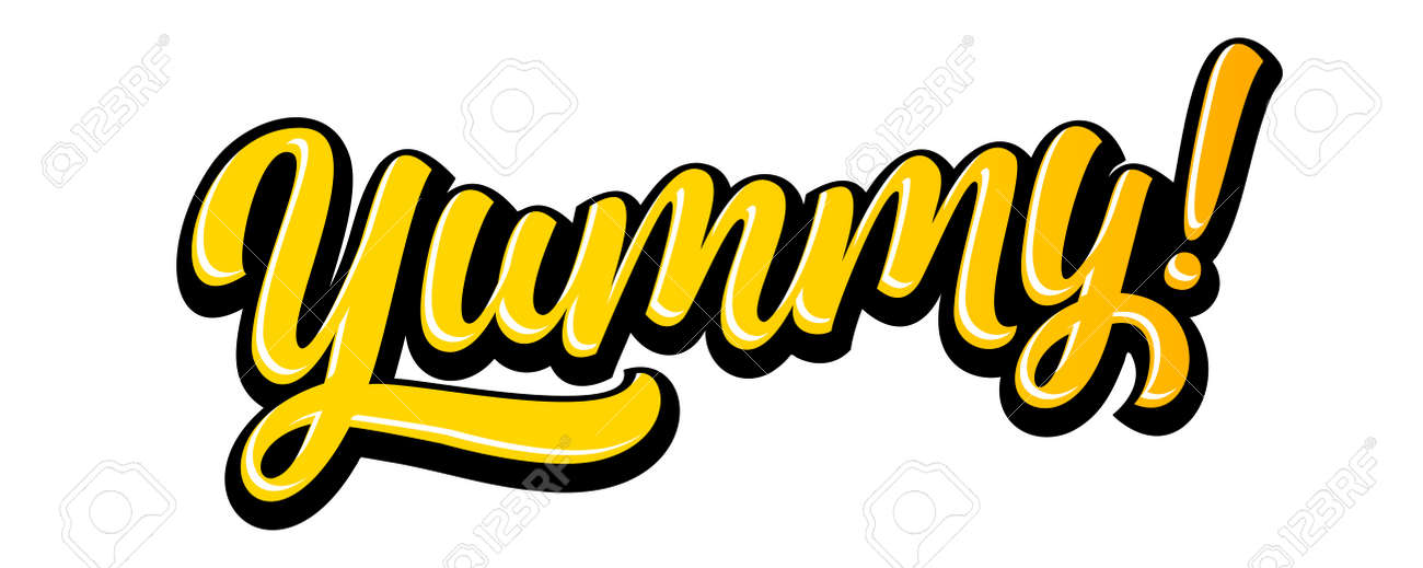 Yummy doodle for tasty delicious food, yum vector text. Yummy lettering cartoon for delicious tasty or yum licking food - 169862977