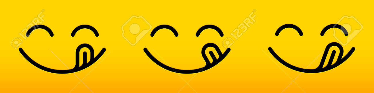 Smile yummy face, delicious tasty lick tongue vector food taste line icon. Yummy smile tasty licking tongue, cartoon yellow food background - 169862980