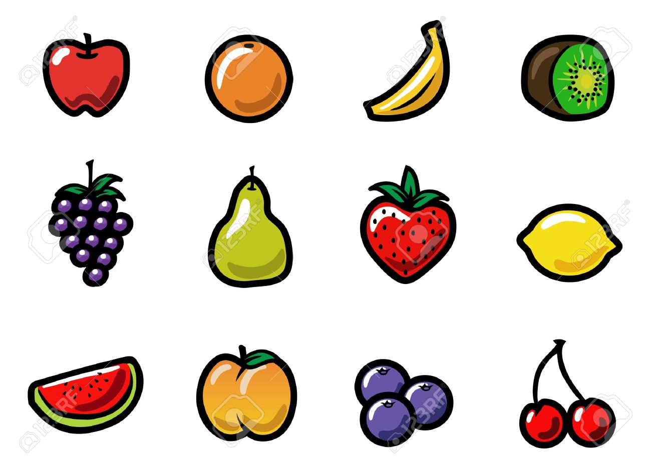 a set of cute and colorful cartoon fruit icons royalty free cliparts rh 123rf com cartoon fruit pictures to print cartoon pictures fruit vegetables