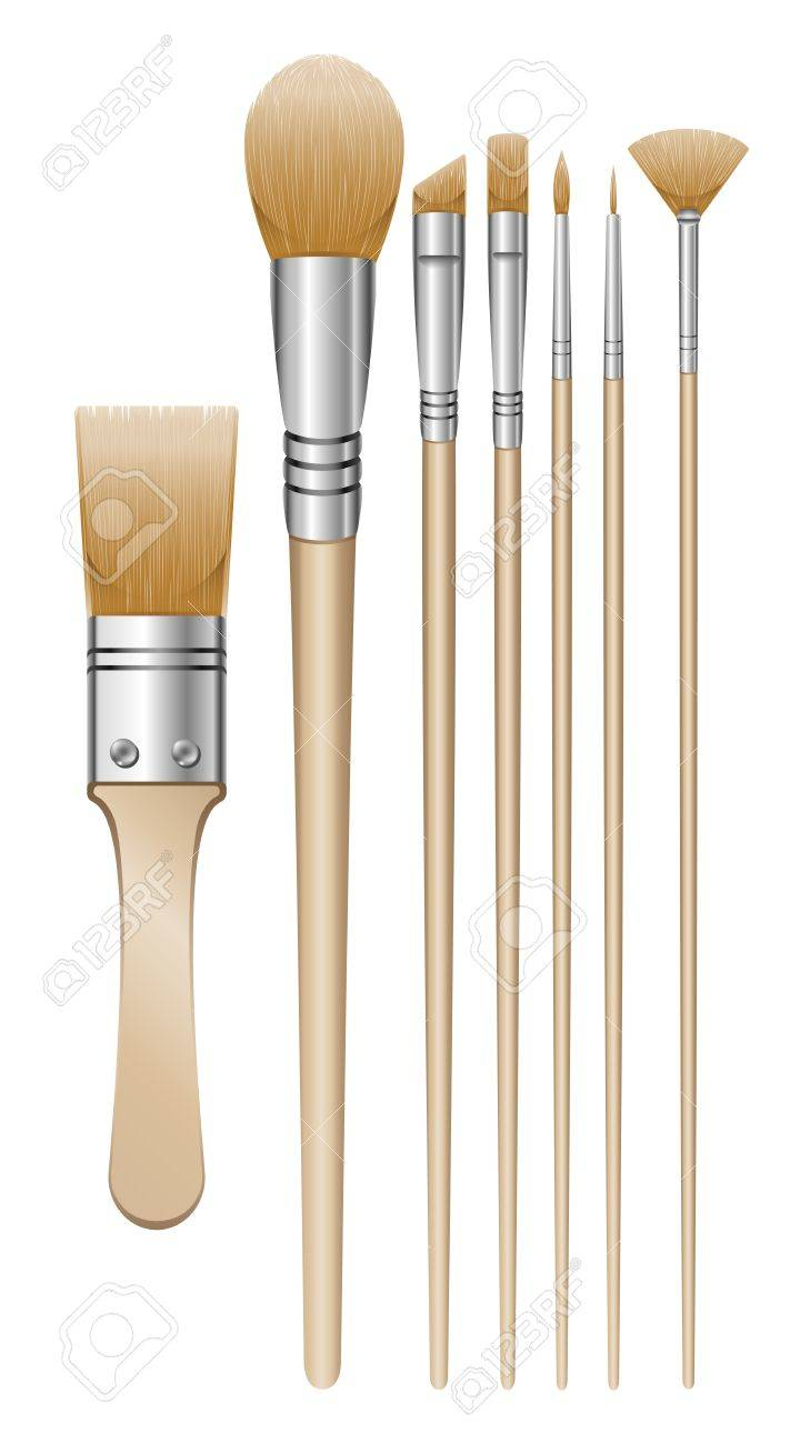 A set of 7 paintbrush illustrations Stock Vector - 18203837