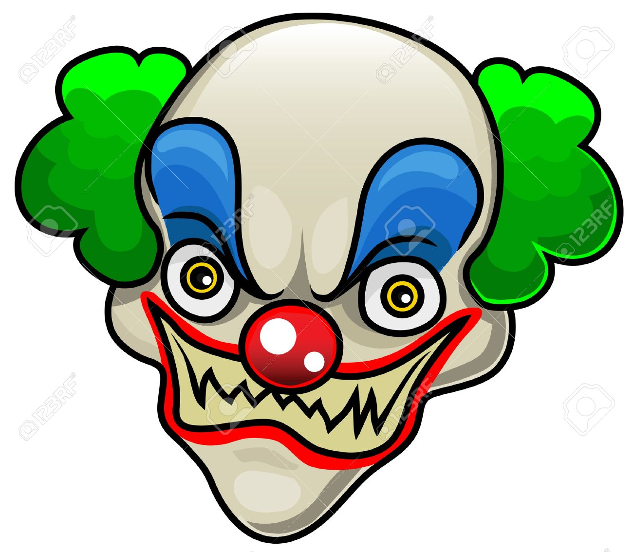 a very detailed cartoon halloween clown head or mask royalty free