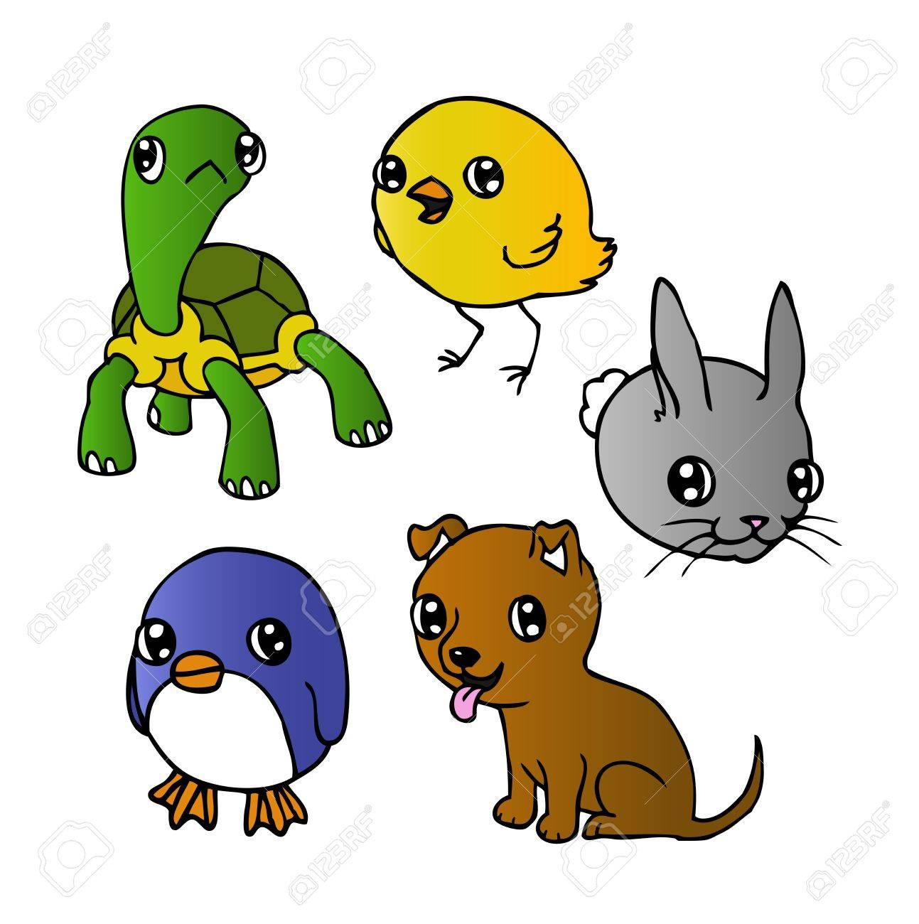 かわいい漫画の子犬、亀、ペンギン、鶏およびウサギのインク イラスト