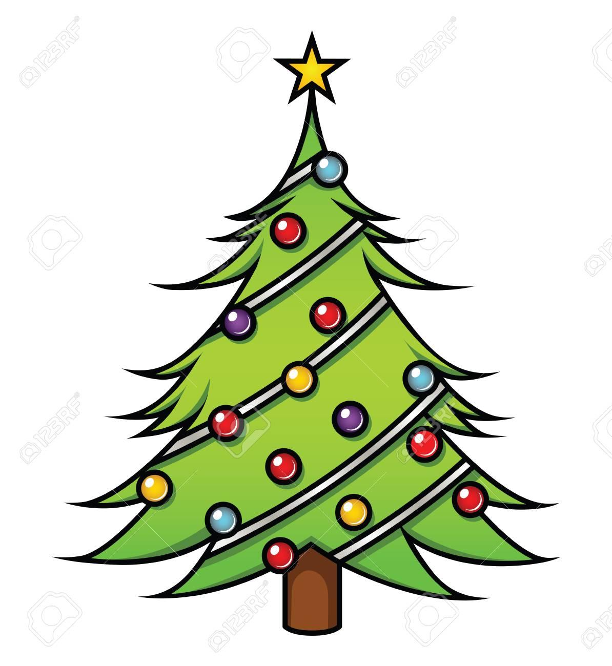 A Cute Cartoon Christmas Tree On White