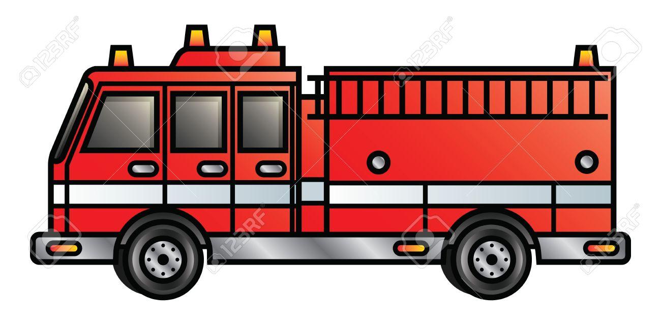 Illustration of a cartoon fire engine - 18203895