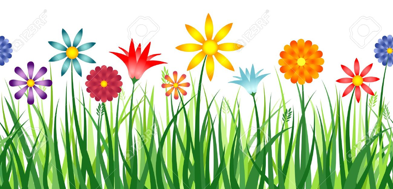 grass and flowers border. Fine Flowers A Colorful Border Depicting Flowers In A Field Of Grass Horizontally  Repeatable Stock Vector  18203919 For Grass And Flowers Border 123RFcom
