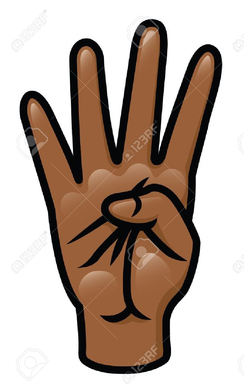 Illustration of a cartoon hand holding up four fingers Stock Vector - 18203922