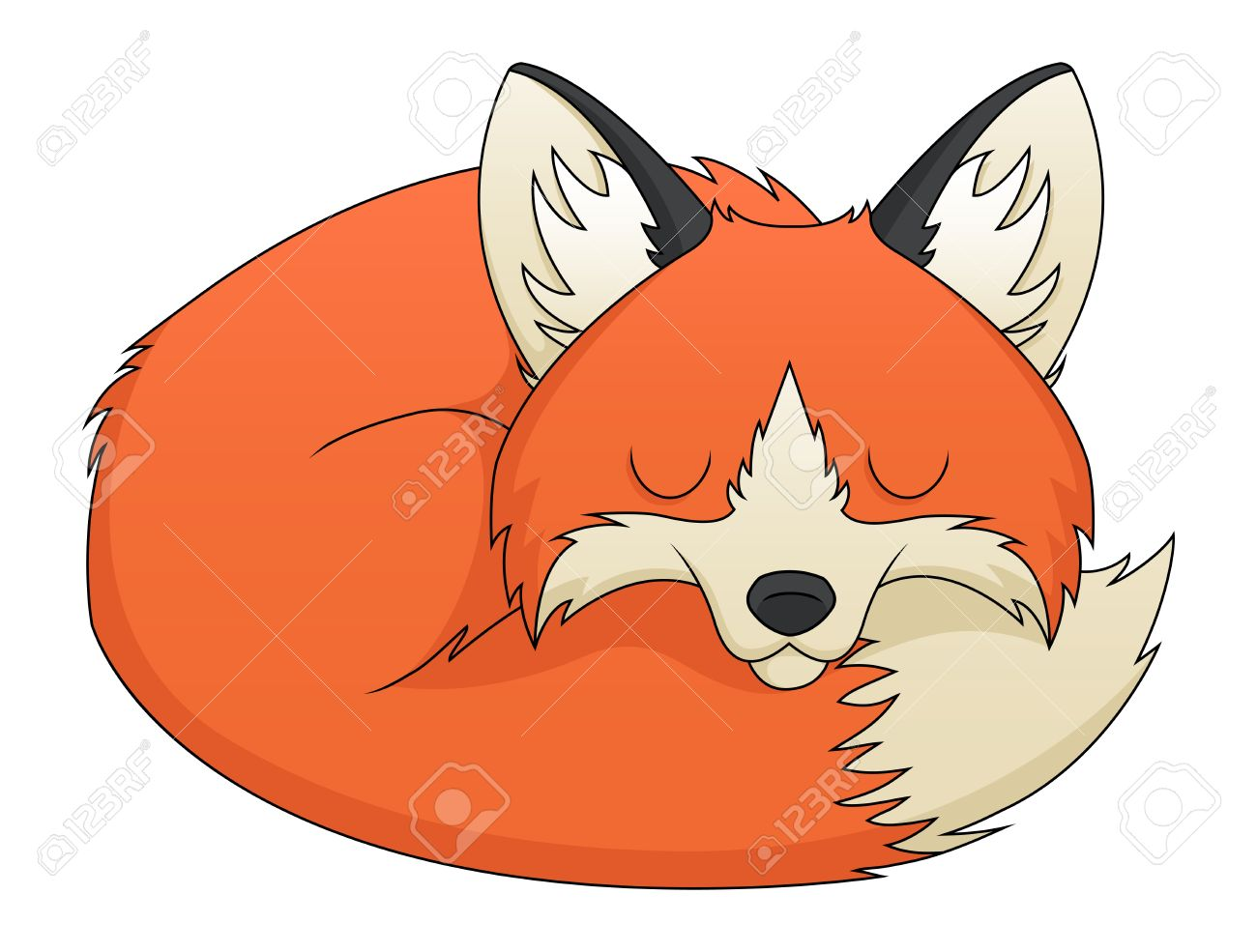 An illustration depicting a sleeping cute red fox cartoon Stock Vector - 18203881