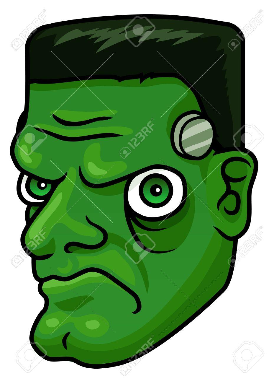A Cartoon Halloween Frankenstein Monster Head Or Mask Royalty Free ...