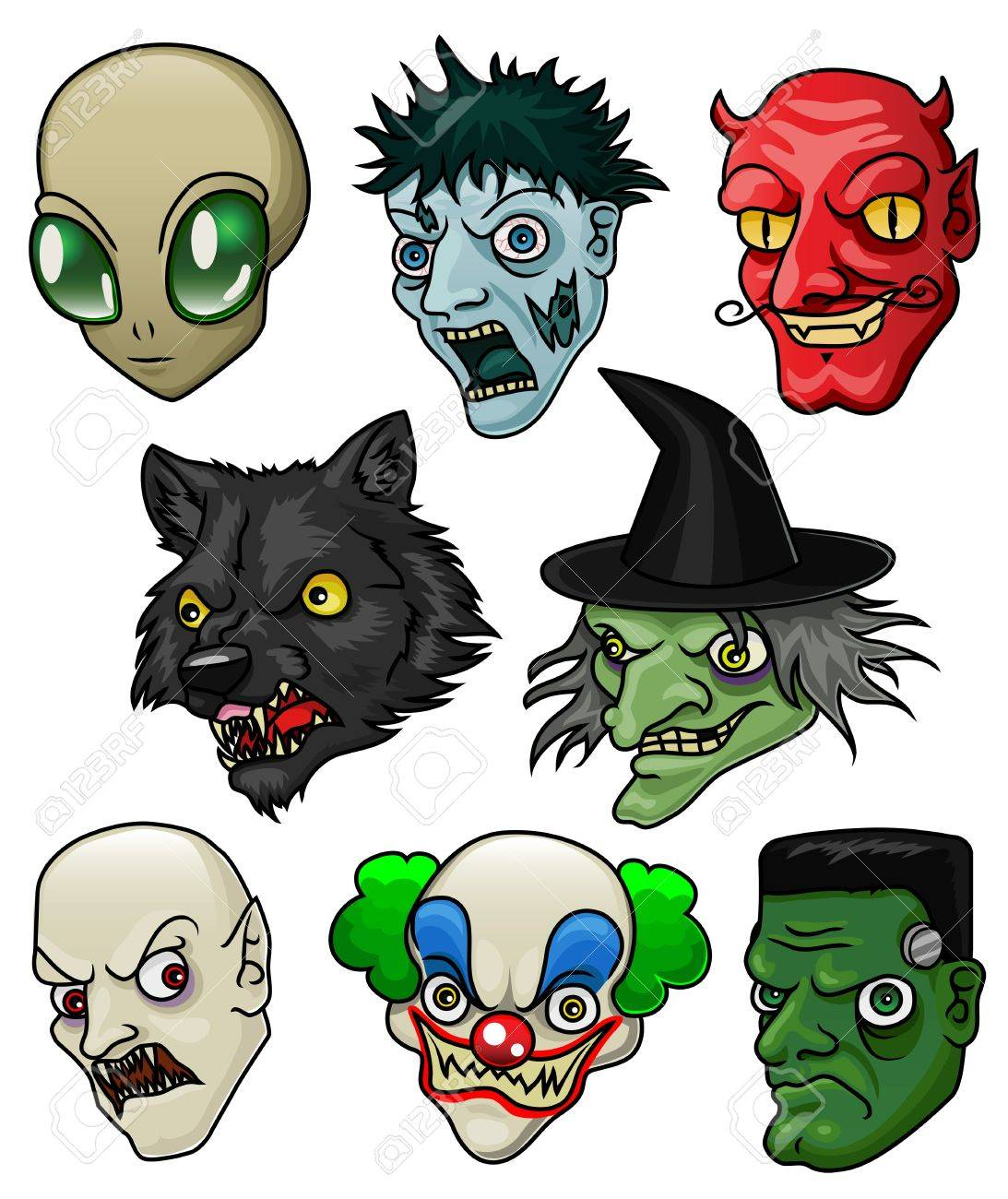 A Collection Of 8 Different Halloween Monsters And Creatures ...