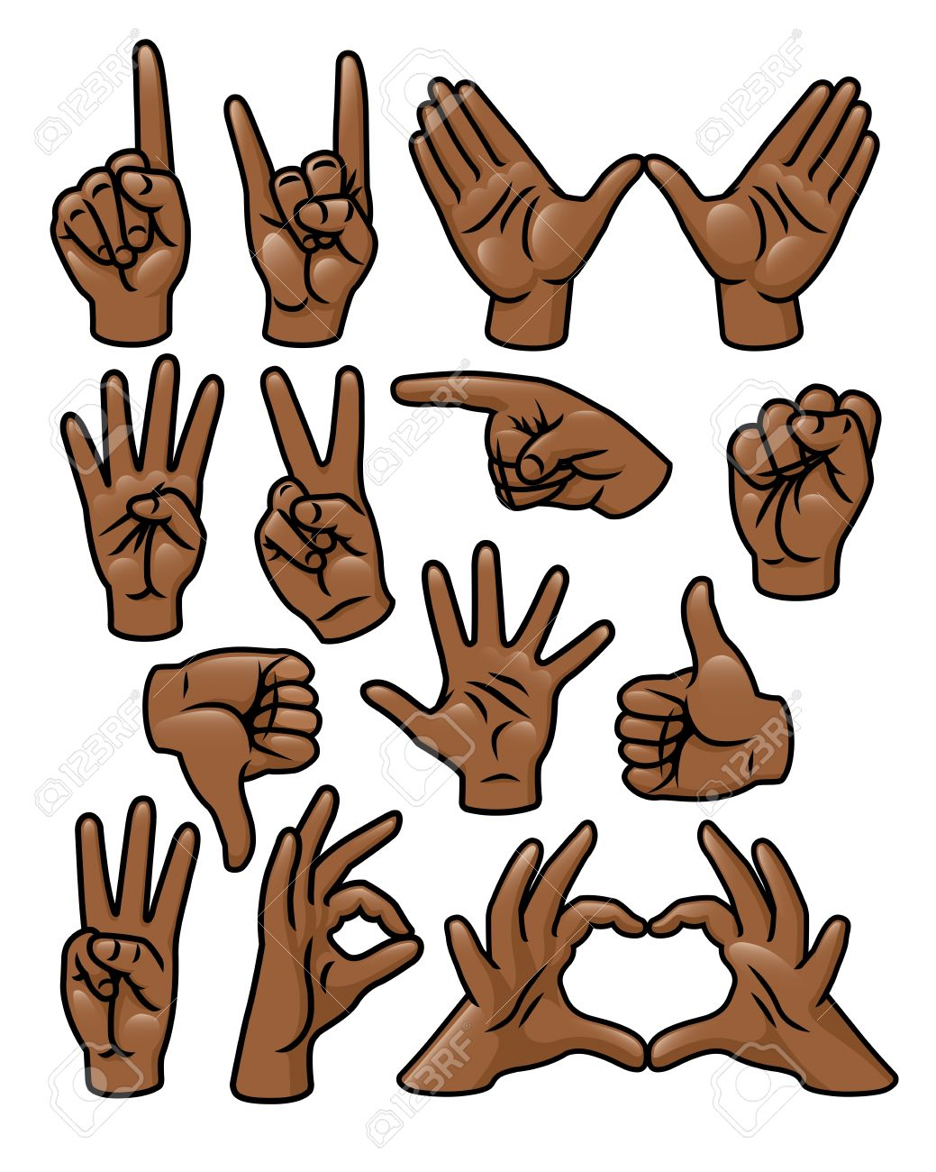 A set of 15 different cartoon hands in various poses Stock Vector - 18263859