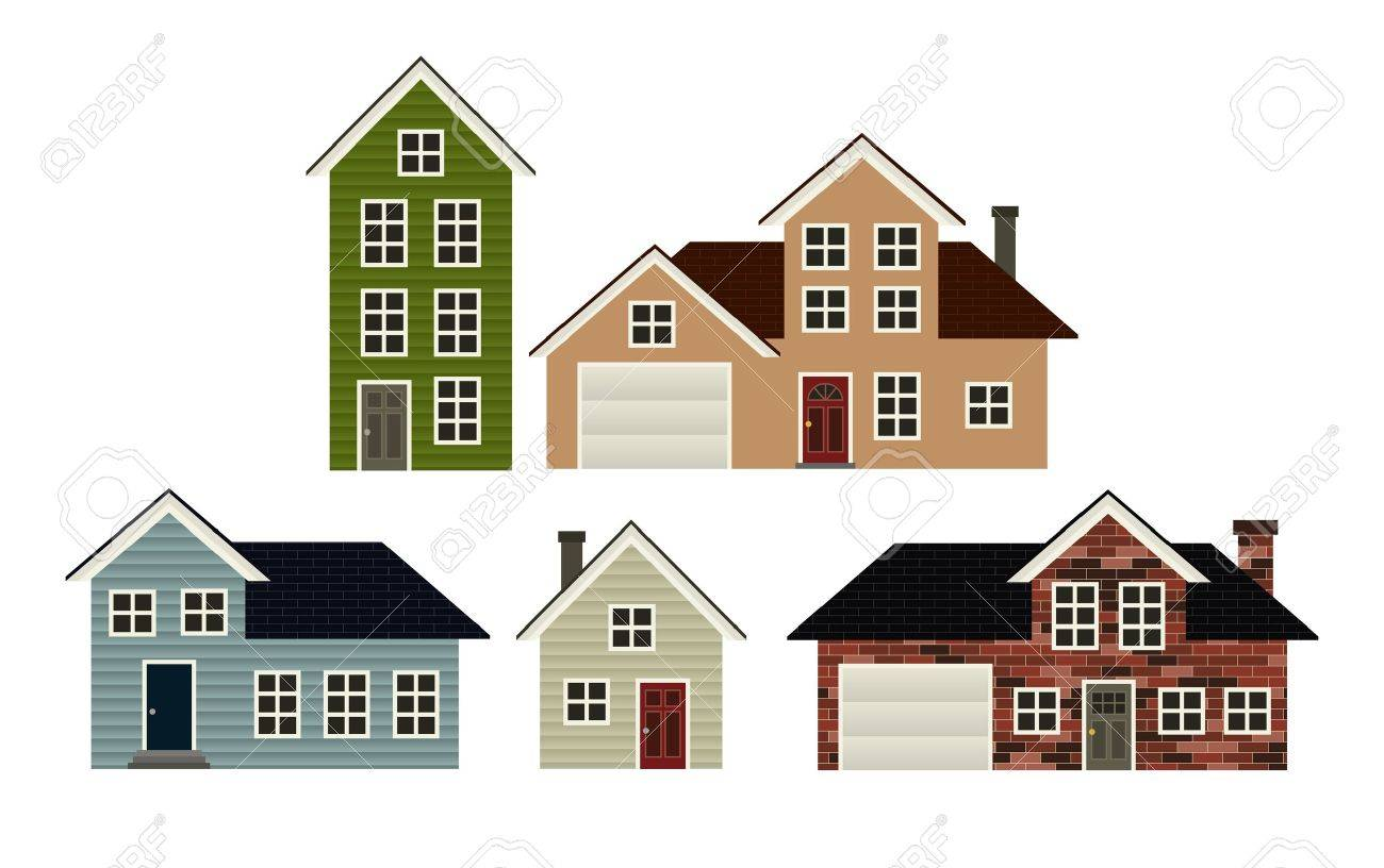 a set of 5 simple stylized house illustrations royalty free cliparts