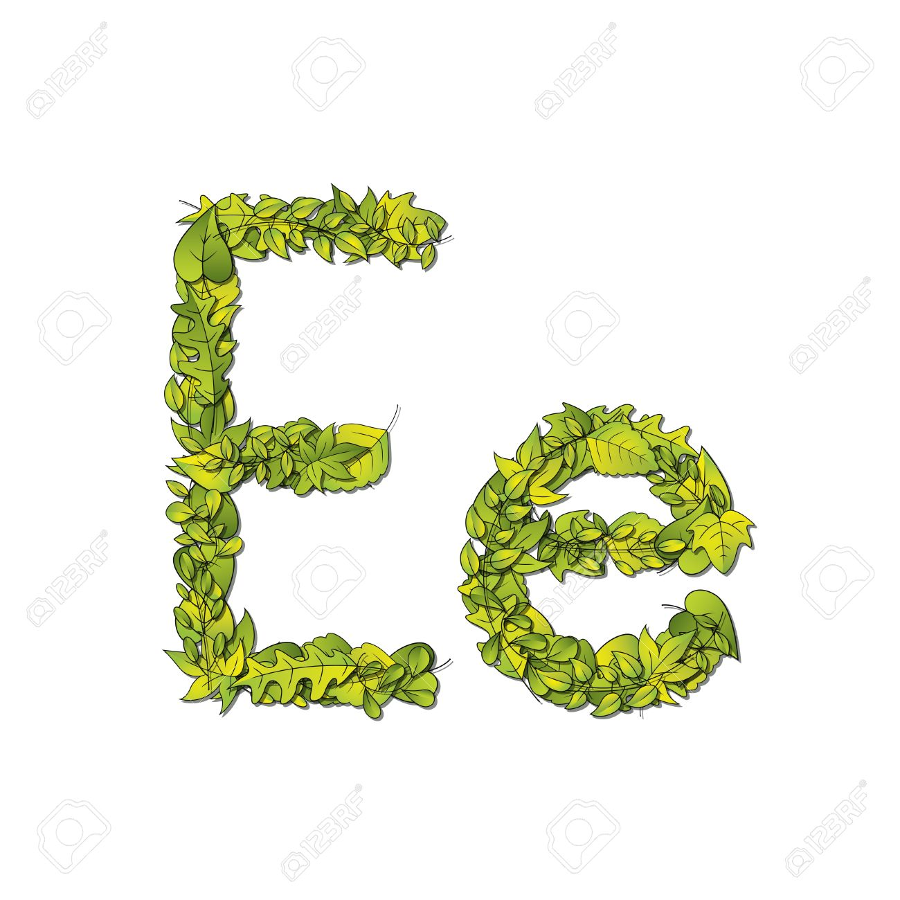 leafy storybook font depicting a letter e in upper and lower