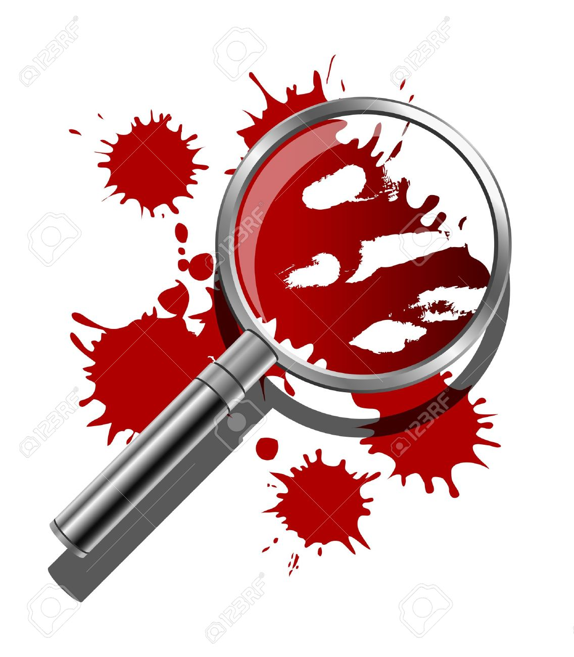 A magnifying glass being used to inspect the bloody evidence of a crime scene Stock Vector - 18263604