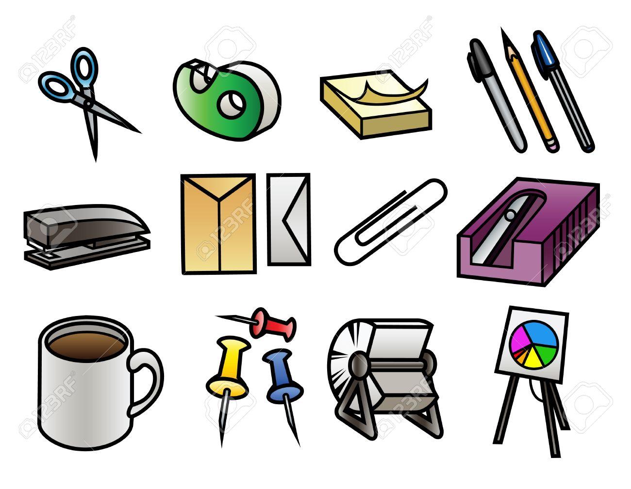 Bürobedarf clipart  12 Bunte Comic Bürobedarf Symbole Lizenzfrei Nutzbare ...
