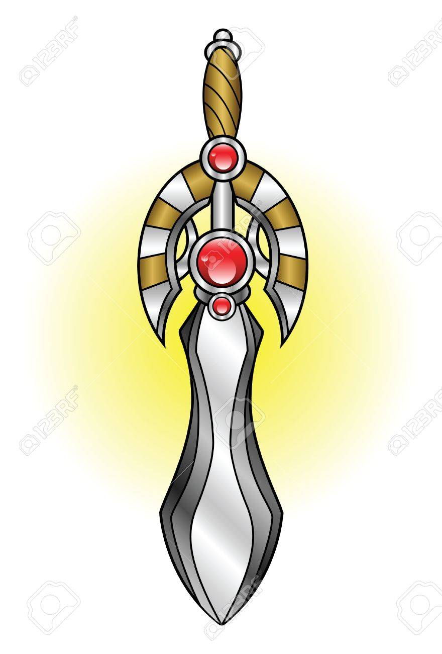 A shiny decorative short sword adorned with jewels Stock Vector - 18263591