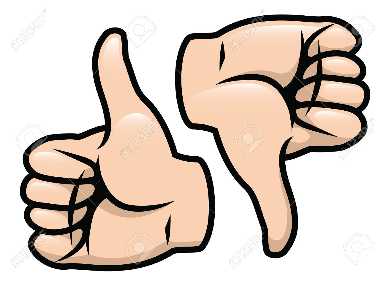 a cartoon vector drawing of a thumbs up and a thumbs down royalty rh 123rf com