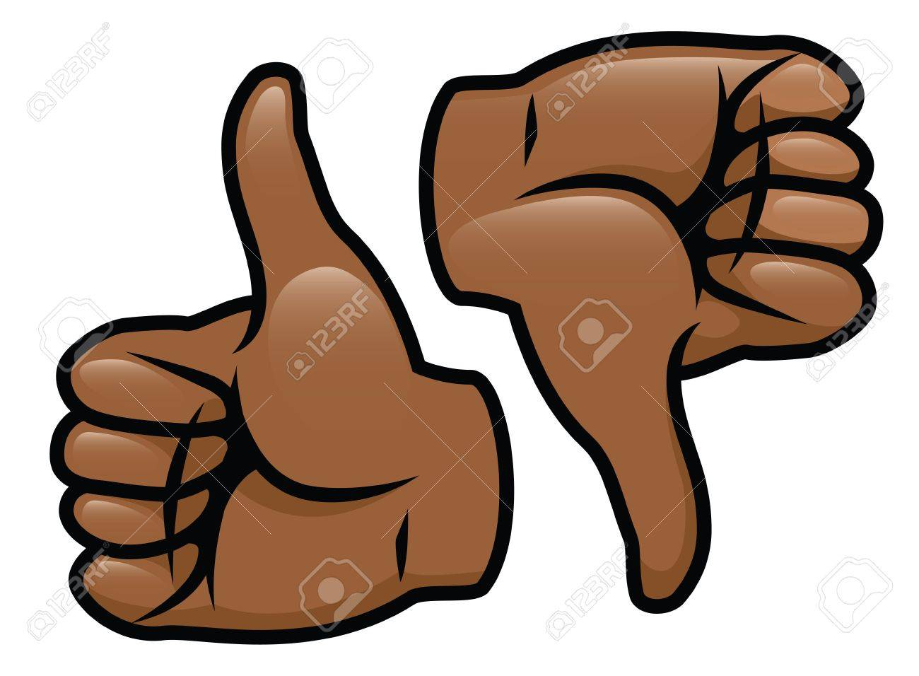 A cartoon vector drawing of a thumbs up and a thumbs down Stock Vector - 18263590