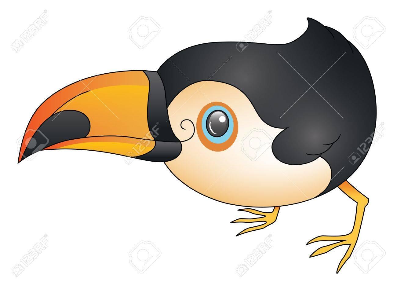 An illustration depicting a cute cartoon toucan crouching Stock Vector - 18263797