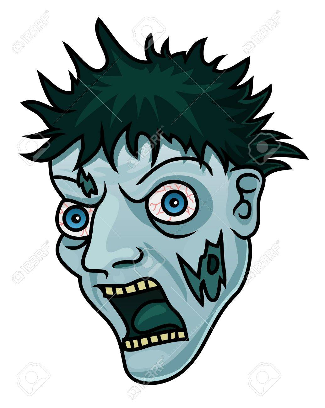 A Cartoon Halloween Zombie Head Or Mask Royalty Free Cliparts ...